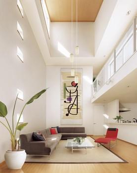 夏の暑い日差しは遮り、冬のやわらかい日差しを室内に導く、快適なリビング