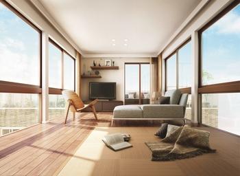 部屋の奥まで光が差し込み、風の通り道となる。大開口がもたらす心地よさも三階建ならより強く感じられる。この家で一番快適な空間を家族の集う場所へ。自然と人が集まって、会話も弾む