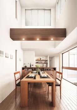 大きな吹き抜けで上への開放感をプラスした三階建。タテに広がる空間により、光を多く取り込めるだけでなく、家族との心地よいつながりも演出