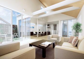 左右に広がるパノラマリビングは、敷地のカタチや方位などの特性を考慮して設計。仕切り・区切りを感じさせない空間は心地よい開放感を与えてくれる