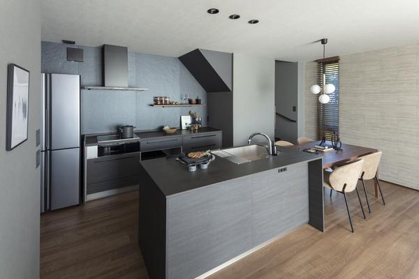 壁を使ってリビングを仕切ったら、ちょっとしたプライベートスペースに。デスクとパソコンを設置すれば、もうそこは立派なワークスペース。リビングとの仕切りは壁1枚だから、仕事をしていても家族を感じることができる。そんなやさしい空間だ