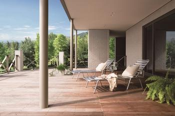 特別な時間が流れる、半屋外空間。心象風景を映じた坪庭。内と外の調和と融合が独創的な価値を生む