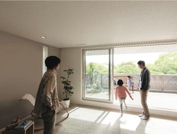 二世帯住宅だからこそ、家族みんながくつろげる心地よさを住まいに。トヨタホームでは強靭なユニット構造により、住まい全体の耐震性はそのままに、大空間や大開口を実現