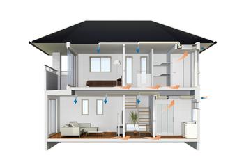 """""""スマートハウスに強いトヨタホーム"""" トヨタホームのピュア24セントラルは、PM2.5などの有害物質をきめ細かく捕らえる高捕集率外気フィルターでいつでも快適な空気環境を維持できます。トヨタホームのスマートハウスは省・創エネから一歩進んで、健康・快適な暮らしをつくることができます"""