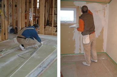 【画像2】部材を切り出したり、下地剤を塗ったり……とにかく全ての工程を行い、自分たちで家をつくり上げた(画像提供:寺田美奈子さん)