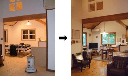 【画像4】リビングからダイニングを望む写真。入居当時(左)と現在(右)。床や天井にはパイン材を使っていて、年々、味のある色に変化(画像提供:寺田美奈子さん)
