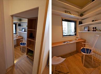 【画像7】棚を奥にスライドさせると「ひとりの部屋」が現れ、まるで隠し部屋のよう。趣味や仕事、子どもの勉強にも使えそう。4世代の暮らしでも、ときにはひとりになれる空間も必要だ(写真撮影:筆者)
