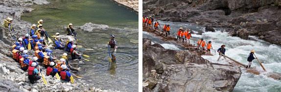 【画像2】インストラクターさんからレクチャーのあと北山川へ。川ではいかだ下りも行われている(写真撮影:井村幸治)