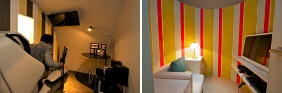 【画像7】「フリーカプセル」は完全に個室空間となる。左はマッサージチェアがある「リラックス」、右は「シアター」タイプでともに利用料金は1時間100円(写真撮影:井村幸治)