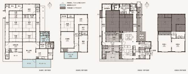 【画像2】築後約60年、延べ床面積約233m2の大型在来木造住宅でテラスやサンルームが増築されていた。左がリフォーム前の間取りで、ブルーの部分は減築箇所。右はリフォーム後、グレーの部分は既存のままの箇所(画像提供:梶浦博昭環境建築設計事務所)