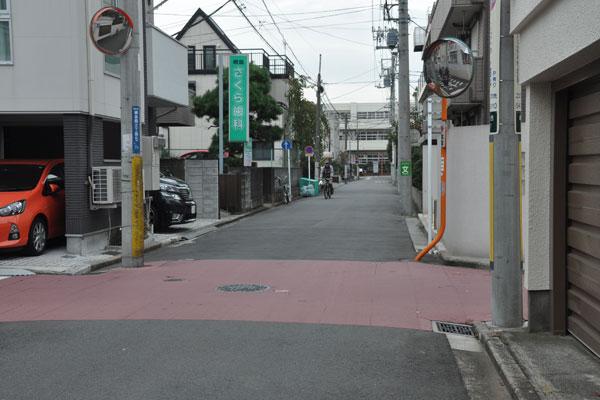 【画像2】住宅街にあるカラー舗装。視覚に変化をもたらすため、車がスピードを落とし、交通事故を抑制する効果があるそう(写真撮影:嘉屋恭子)
