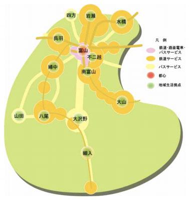 【図4】富山市が目指すお団子と串の都市構造(出典:富山市)