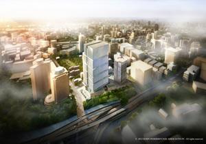 【画像1】再開発の完成予定図。「オフィス・ホテル棟」高さ180mになる予定(画像提供:西武プロパティーズ)