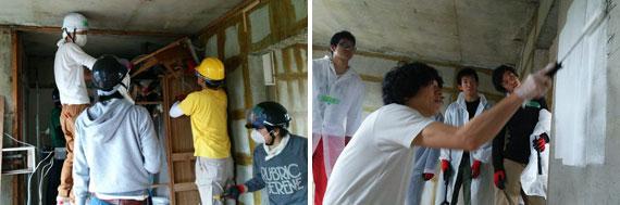 【画像2】内装を解体し、コンクリート壁に塗装を重ねていく(写真提供:大都)