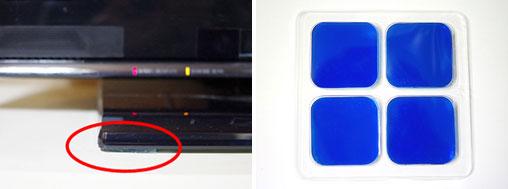 【画像3】テレビの下に設置した振動を吸収するゲル状マット(写真撮影:玉置豊)