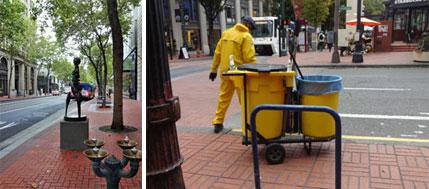 """【画像2】左:5・6番街の広い歩道にはアート作品が展示され、水飲み場も設けられている。右:""""CLEAN & SAFE""""で雇用された清掃員が街を常にきれいにしている(撮影:住宅ジャーナリスト/山本久美子)"""