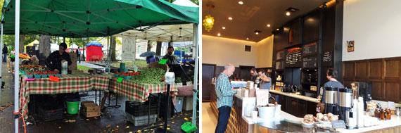【画像3】左:ファーマーズマーケットは数ブロック続くほどの大きさ。右:ポートランドで人気のカフェ「StumpTown(スタンプタウン)」