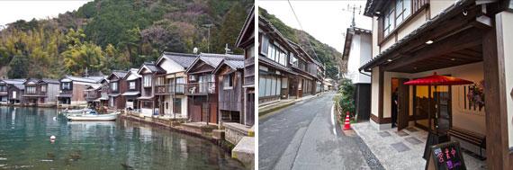 【画像1】舟屋は伊根湾に沿うようにカーブしながら続く(左)。大通りには木造建築が連なり風情ある景観をつくりだしている(右)(写真撮影:井村幸治)