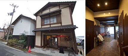 【画像2】建物の向こう側は伊根湾(左)。店舗部分も以前は海だったところを埋めたものなので、テーブルのすぐ奥は海だ(右)(写真撮影:井村幸治)