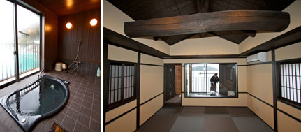 【画像3】窓辺には伊根湾を眺められる温泉露天風呂を新設、お湯は温泉旅館の源泉から運び込んでいる(左)。柱や梁は舟屋建築を活かしながらも、内装は一新(右)(写真撮影:井村幸治)