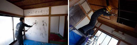 【画像3】(左)「甘え」や「人見知り」など、自分の中にある「壊したい壁」を書き込み、その壁ごとハンマーで壊す(画像提供:株式会社ユウト)(右)天井も梁だけを残して剥がしていく(写真撮影:玉置豊)