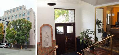 【画像6】ラファイエット アパート。エントランスはホテルの面影が残る。右の写真右側がオンサイトマネージャーの事務所で、彼女は最上階のペントハウスに住んでいる(撮影:住宅ジャーナリスト/山本久美子)