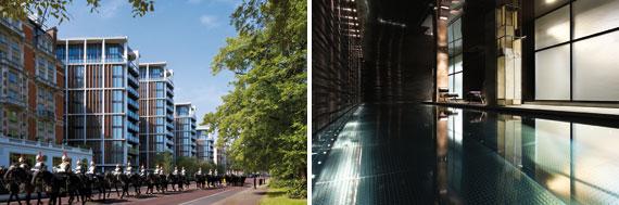 【画像2】(左)建物は閉塞感を感じさせる四角形ではなくダイヤモンド型に。周囲のレンガ造りの街並みに馴染むことから外装にアルミニウム銅合金を採用。(右)住人専用温水プール。デザインは世界のプレミアム住宅を手がける「キャンディ・キャンディ」(画像提供:onehydepark.com)