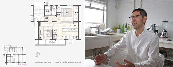【画像1】キッチンを窓辺に移動して自然光の中で調理ができるよう。※Aさんの住戸は反転プラン(MUJI×UR plan07)、家具配置はプラン例なので実際とは異なる(写真撮影:井村幸治)