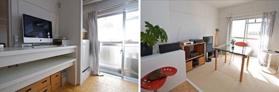 【画像2】洗濯機置き場がバルコニー横にある珍しい間取りだが、干す作業は楽だそう(左)。白い部屋に自然光が差し込み暖かみを感じるリビング(右)(写真撮影:井村幸治)