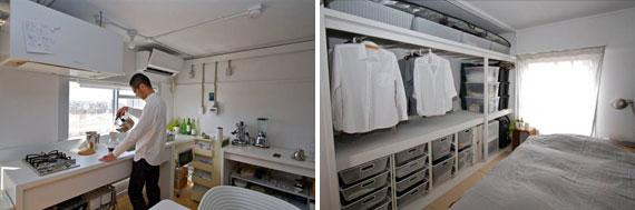 【画像3】外を眺めながら調理ができるキッチン。料理も楽しくなりそうだ(左)。押入れスペースはつっぱり棒を活用してクローゼット風にプチDIY(右)(写真撮影:井村幸治)