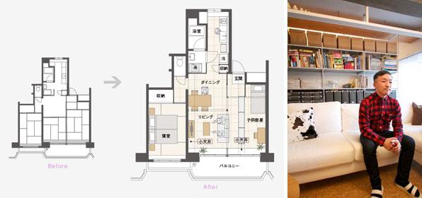 【画像4】南面3室、キッチンに窓があるタイプ。(MUJI×UR plan02) ※家具配置はプラン例なので実際とは異なる(写真撮影:井村幸治)
