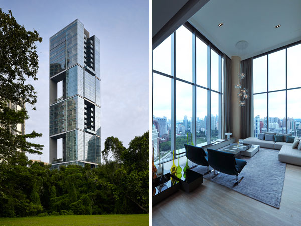 【画像1】(左)建物は4種類のユニットで構成されており、個性的な外観デザインと建設工事の効率化も実現。建物を貫通している中層階のスカイガーデンにあるジムでは空を飛ぶような感覚でランニングできる(画像提供:Courtesy of SCDA)(右)モデルルームのインテリアは、世界中のホテルや高級住宅を手がけるシンガポールのスーインデザインとイタリアのサポリティイタリア(撮影:Yusuke Hattori)