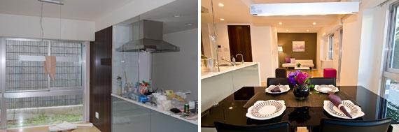 【画像2】(左)改装前、(右)改装後(写真提供:ホームステージング・ジャパン)