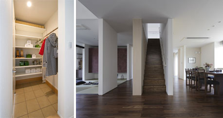 【画像】(左)シューズクローク (右)リビング階段(画像提供:アキュラホーム)