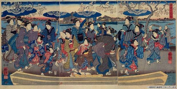 「隅田川花見」一勇斎国芳(歌川国芳) (画像/国立国会図書館ウェブサイト)
