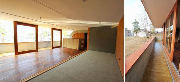 【画像3】左:「林」(2LDK)のLDKと洋室。右:テラス(画像提供:(株)グローバルセンター)