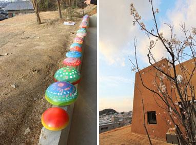 【画像4】左:ワークショップでペインティングされた給気塔。(撮影:長田慶太建築要素) 右:GREEN+土、どんぐりのアナグラムなどをヒントに名づけられたぐりんど(GREENDO)の桜が咲いた(画像提供:(株)グローバルセンター)