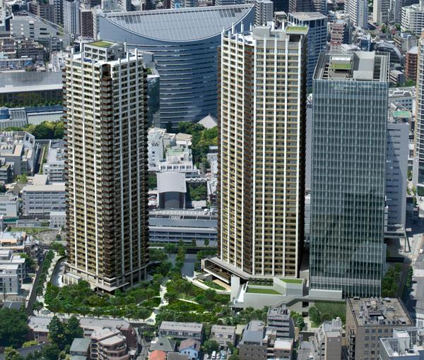 【画像】再開発のイメージCG。高層マンション2棟とオフィスビル(右)からなる(画像提供:東京建物)