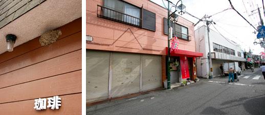 【画像2】喫茶店の軒下にある巣。シャッターが閉じられた商店が目に付く「つばめ通」(写真撮影:井村幸治)