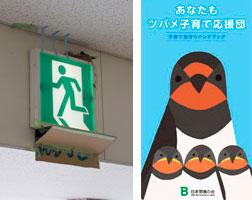 【画像4】大阪モノレール山田駅の改札口近くにつくられた巣。フンを受ける段ボールの台を誰かがつくってくれている! 「日本野鳥の会」のハンドブックには子育てサポートの方法も載っているので、ぜひ参考に!(写真撮影:井村幸治)