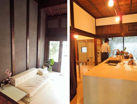 【画像1】(左)天井が高い広い土間 (右)土間から上がると相原さんオリジナルの大型キッチンなどの水まわりとワークスペース。キッチンと床はカナリア石を使っている(写真撮影:山本久美子)