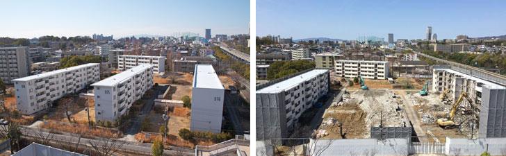【画像1】取り壊し前(左)と、工事が始まった団地型社宅(右)。阪急千里線山田駅に隣接した立地で、14階建てマンションとなる計画だ(写真撮影:井村幸治)