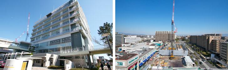 【画像2】千里ニュータウンプラザ(左)と、阪急千里線南千里駅前で進められているマンション建設。公共施設の移転・再開発によって生まれた土地を再利用している。南千里もこの数年で大きく変貌したエリアでもある(写真撮影:井村幸治)