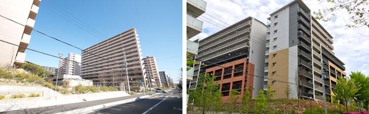 【画像4】北千里駅前のOPH(大阪府住宅供給公社)の賃貸住宅。売却された隣接地では分譲マンションが販売中だ(左)。その隣には高層化された府営住宅(右)(写真撮影:井村幸治)