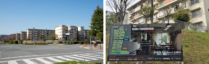 【画像6】UR千里青山台団地の交差点、団地の空はとても広い(左)。UR千里津雲台団地ではDIY賃貸のモデルルームも公開中だ(右)(写真撮影:井村幸治)