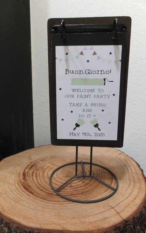 【画像1】「buon giorno!(ボンジョルノ)」と書かれた、手づくりのウェルカムボードが玄関でお出迎え。イタリア語で
