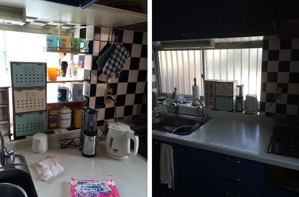 【画像1】Before)棚を設置すると衛生面ではNG(左)/After)置くモノを厳選。スッキリかつ衛生的(右)(写真提供:古堅純子)