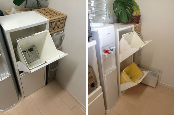 【画像5】(左)ゴミ箱の中は新聞紙を敷いておけば、汚れ防止に/(右)小さいゴミ箱でこまめに処分(写真提供:古堅純子)