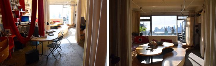 【画像8】浴室の窓から部屋をのぞく。キッチン、リビングを通り越した先に広がる大きな窓から、夜景が綺麗に見えるそう(撮影:小野有理)
