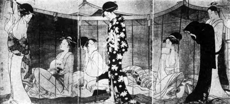 【画像1】蚊帳の中に6人が布団を敷いて寝るのだろうか? 出典:「婦人泊り客之図」歌麿(画像提供/国立国会図書館ウェブサイト)